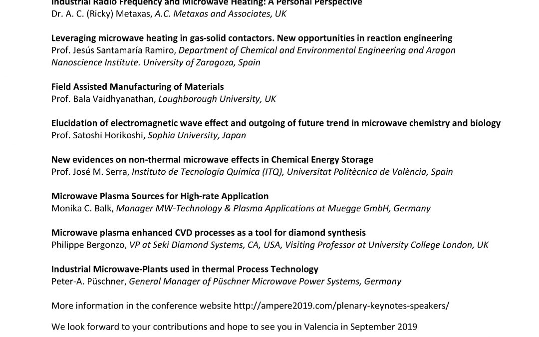 Plenary and Keynote speakers at AMPERE 2019