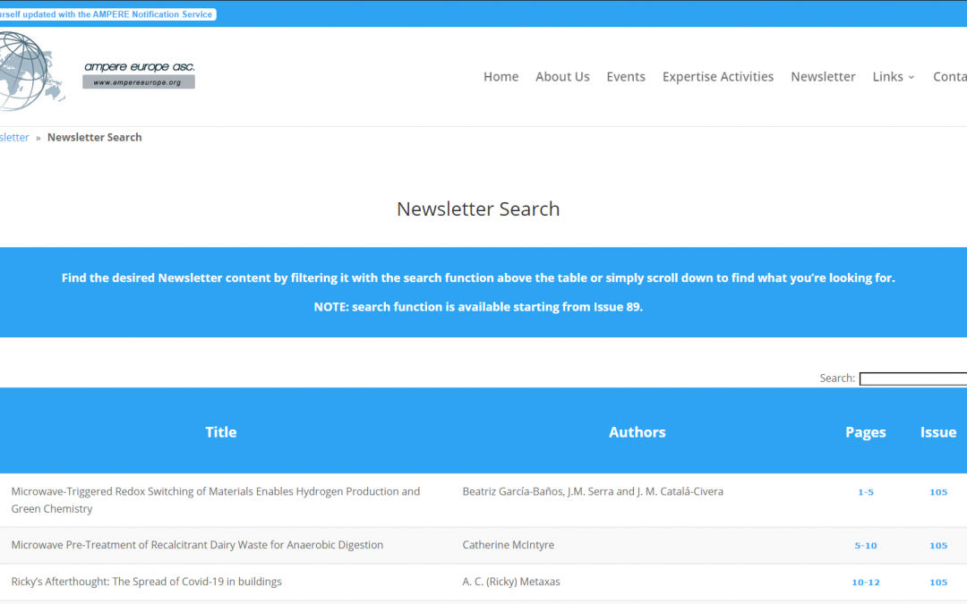The AMPERE Newsletter and Search Function have been updated!